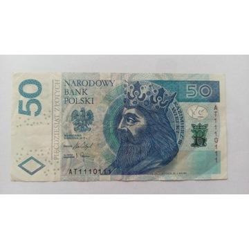 Banknot 50 zł RADAR  seria AT 1110111