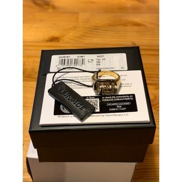 Nowy pierścionek Versace Greek Key Ring rozmiar 63