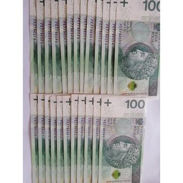 24 banknoty 100 złotowe