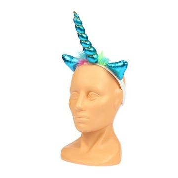 Niebieska OPASKA RÓG JEDNOROŻCA jednorożec unicorn