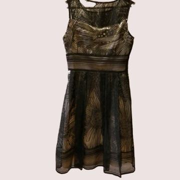 Piękna czarno-beżowa sukienka rozm 38