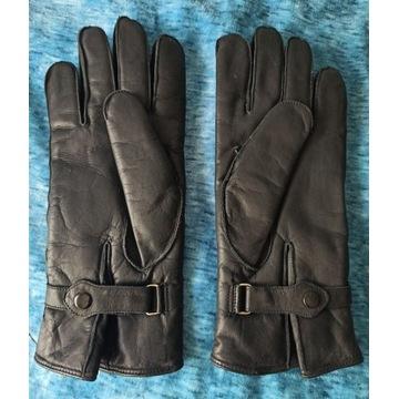 Nowe skórzane rękawiczki z kożuszkiem r.22 czarne