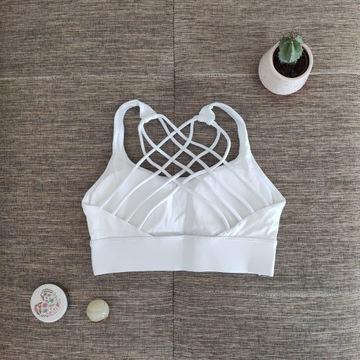 Stanik sportowy do jogi i fitnessu biały XS-S