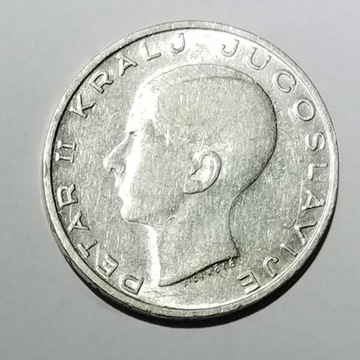 20 dinarow, Jugoslawia 1938 Peter II srebro