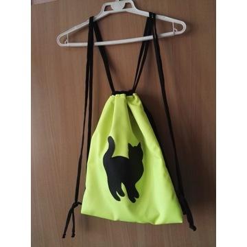 Plecak worek neonowy z kotem!