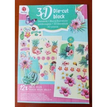 Blok 3D-die cut,wypychanki,wycinanki-tropiki,lato