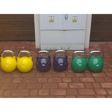 zestaw kettli turniejowych 16,20,24 kg