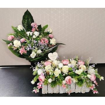 Kompozycja nagrobna , kwiaty na grób , stroik