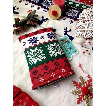 Otulacz etui na książkę wzór świąteczny sweter