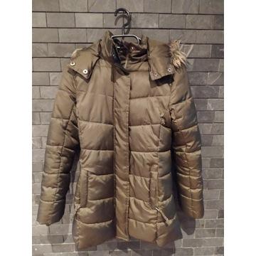 Zimowa kurtka H&M parka rozm.152, khaki