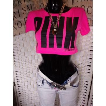 S XS PINK różowa krótka bluzka crop top neon 34 36