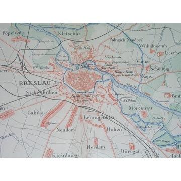 1885 ORYGINAŁ WROCŁAW BRESLAU plan miasta ŚLĄSK
