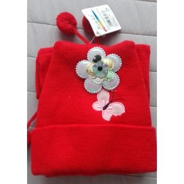 Komplet dla dziewczynki czapka i szalik czerwone