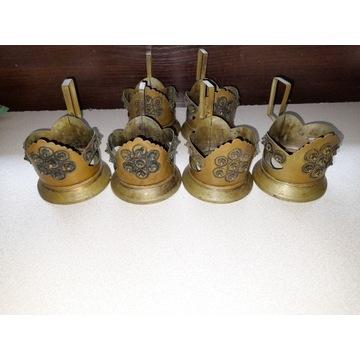 Stare mosiężne koszyczki uchwyty na szklanki