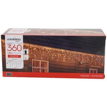 Kurtyna oświetlenie sople 360 lampek LED białe 12m
