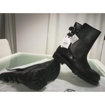 Wysokie buty męskie glany ZARA skórzane 43