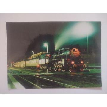 Pocztówka parowóz OL49-23 pociąg