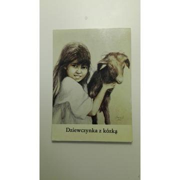 Dziewczynka z kózką, pocztówka, Muszyńska-Zamorska