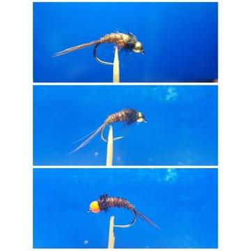 Sztuczne muchy nimfy  3 sztuki w zestawie