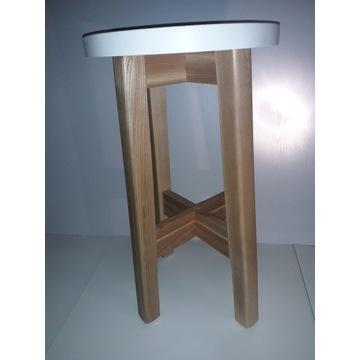 Taboret drewniany 60cm-hoker jesionowy+biały