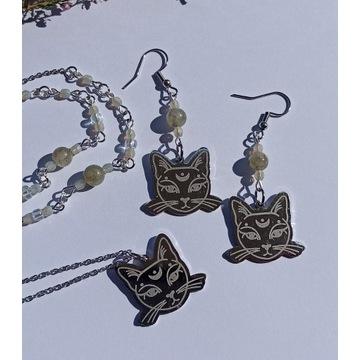 Kolczyki labladoryt moon cat stal witch amulet