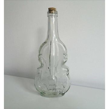 Butelka skrzypce, altówka, szklana, 0,5L z korkiem