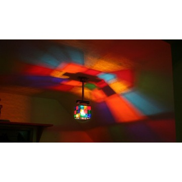 wisząca lampa witrażowa kostka Rubika handmade