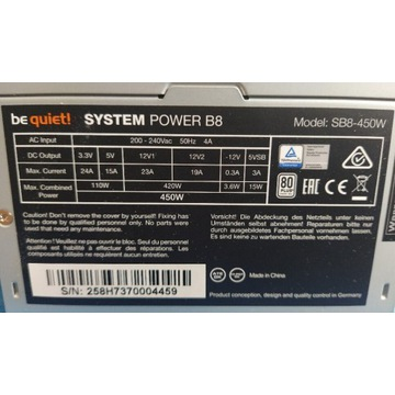 Zasilacz be quiet! System power B8 450W