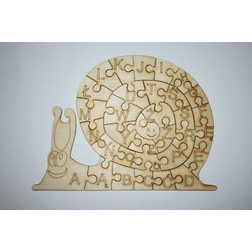 Układanka drewniana puzzle edu ślimak alfabet