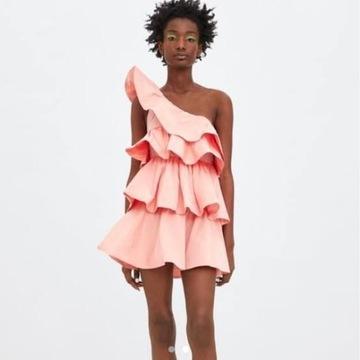 Sukienka asymetryczna pudrowy róż Zara falbanka