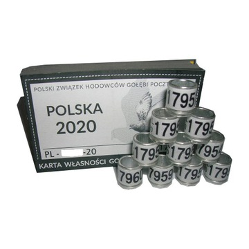 Oryginalne Obrączki PZHGP 2020 r FCI 4cyfrowe