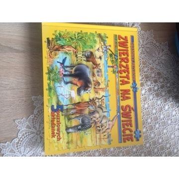 Zwierzęta na świecie książeczka z 5 układankami