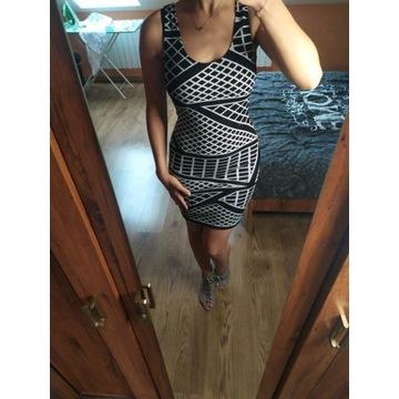Biało- czarna sukienka, rozmiar XS/S