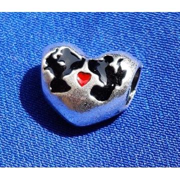 Charms - serce z Myszką Miki i Minnie S925