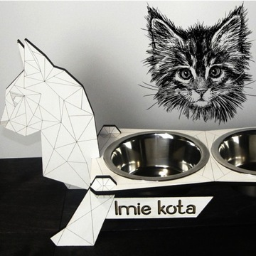 IMIENNY IMIĘ STOJAK na miski dla kota 0.45L