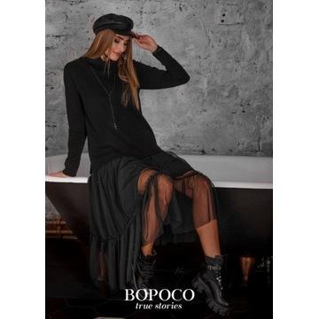 Czarna sukienka z tiulem rozmiar S falbany