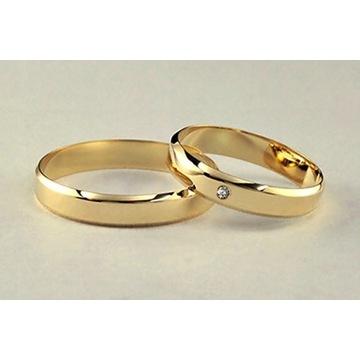 Obrączki Masywne Złoto 585 4mm 4,5- g Diament 1,mm