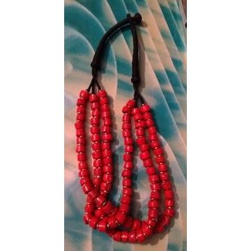 Korale czerwone -sznur, syntetyczne