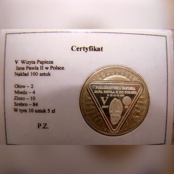 Jan Paweł II 5 zł 1933-Przebitka z okazji V wizyty
