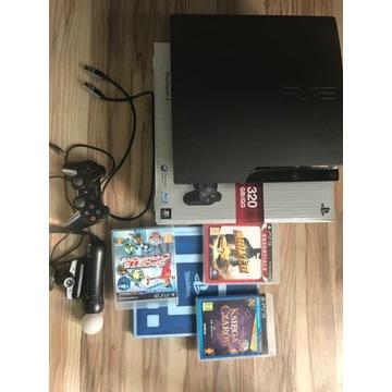 PS3 SLIM 320 GB +MOVE +KAMERA + PAD+GRY