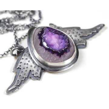 Naszyjnik srebro 925 skrzydła kamień jaspis anioł