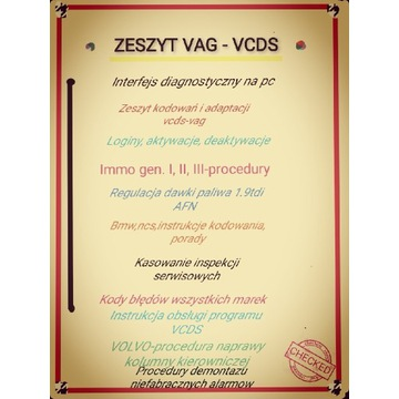 Zeszyt vcds-vag/immo, bmw,volvo, program pc