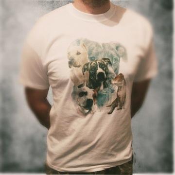 Bluzka koszulka t-shirt amstaff pitbull bully L