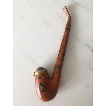 Unikatowa drewniana rzeźbiona fajka vintage PRL