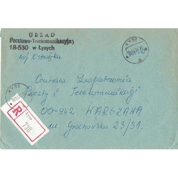 Łyse - Koperty listów poleconych 1960-80