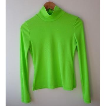 Neonowy seledynowy sweterek / półgolf prążkowany