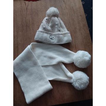 Zimowa czapka z szalem - na polarze 9-12 lat
