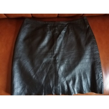 OASIS, Czarna spódnica, skóra, pas 70 cm, M/L nowa