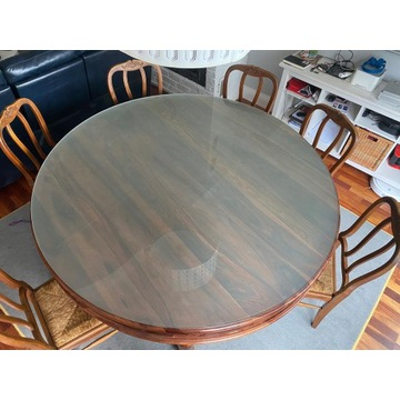 Stół okragły 170 cm z szybą mleczna