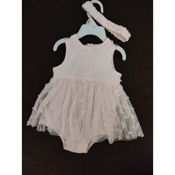 Nowa sukienka wizytowa, na chrzest z opaską